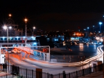 ferry in istanbul at night in long exposure