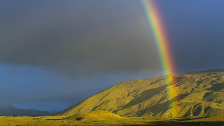 Rainbow over Mountain - clouds, mountains, rainbows, nature