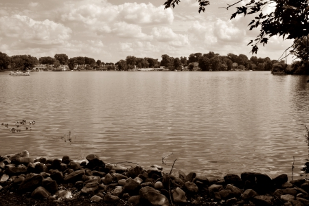 Soothing Sepia - lake, tranquil, Soothing Sepia, peaceful, scenic, relaxing lake, relaxing