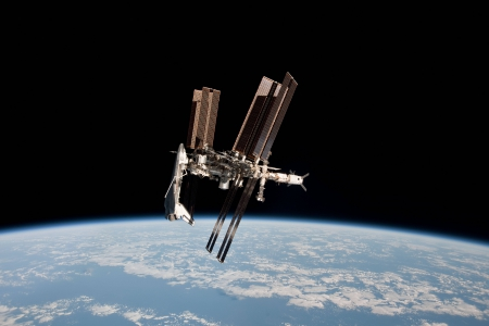 Space Shuttle and Space Station Photographed Together - space, earth, cool, shuttle, stars, fun
