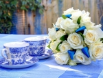 white roses and teacups