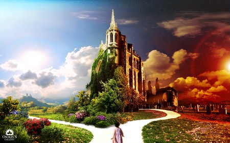 Live and Death is Only a Junction - wds, colorful, way, junction, church, death, 3d and cg, widescreen, heaven, graveyard, life