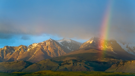 Rainbow over Argentina National Park - mountains, valleys, rainbows, nature