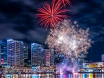 Fireworks on Darling Harbor in Sydney