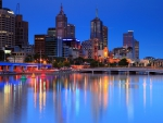 Melbourne, Australia Night Cityscape