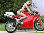 Bikini Model on a Ducati