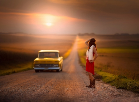 Hitchhiking - space, car, road, Hilda, hitchhiking, girl