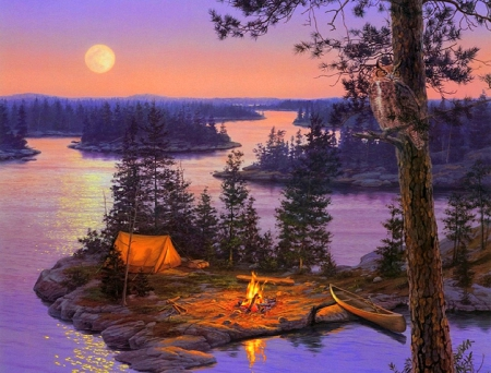 full moon camping rivers nature background