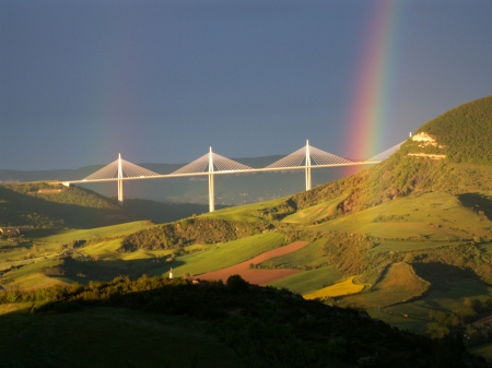 Rainbow over Mountains and Bridge - bridges, mountains, rainbows, nature