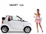 smart automobile and brunette supermodel