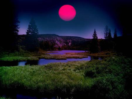 Pink Moon - landscape, trees, river, pink moon, mountains, night