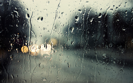 lonely in rain - window, abstract, drops, rain, mood, rainy, nature, day, street, cg