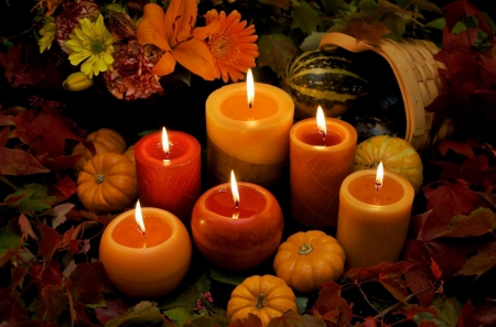 Autumn Candles with Wheat on Retro Wood Background Loop ... |Fall Candles Background