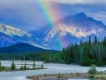 Rainbow over Canadian Mountain Landscape