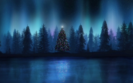 Christmas tree in the forest 3d and cg abstract for Holiday themed facebook cover photos
