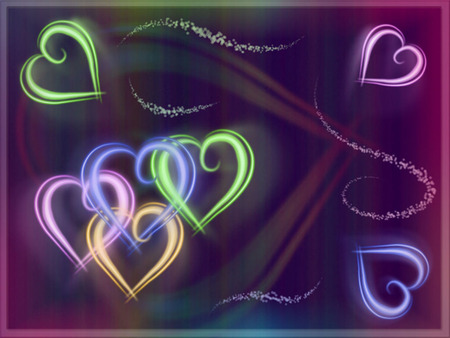 Colorful Neon Hearts - colors, bright, pastels, hearts, neon