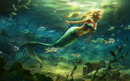 Blue Mermaid - Fantasy &amp- Abstract Background Wallpapers on Desktop ...