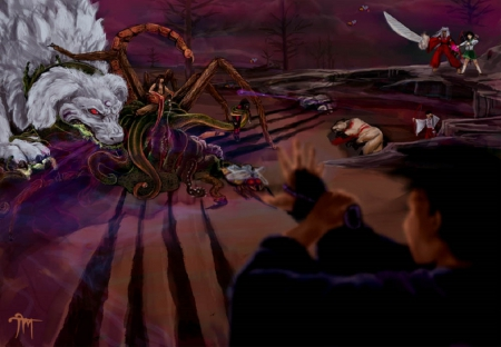 Intense battle - Sango, Shikon Jewel, Manga, Spider, Sesshomaru, Anime, Shippo, Human, Great Demon, InuYasha, Tessaiga, Kikyo, Naraku, Demon Slayer, Dog Form, Miroku, Demon, Wind Tunnel, Kagome Higurashi, Yokai, Onigumo, Saimyosho, Hanyo, Kirara, Monk