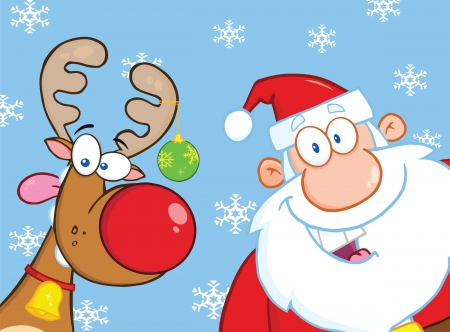 Rudolph and santa - Other & Abstract Background Wallpapers ... - photo#29