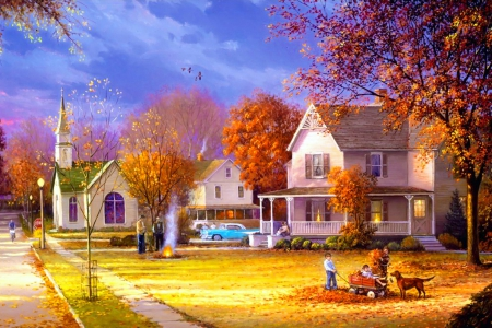Autumn countryside - countryside, beautiful, trees, colorful, painting, church, art, pretty, houses, serenity, fall, autumn, village, nature, peaceful