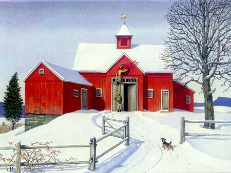 Snow And Barn Farms Amp Architecture Background Wallpapers