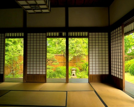 Japanese house indoor houses architecture background for Japanese wallpaper home