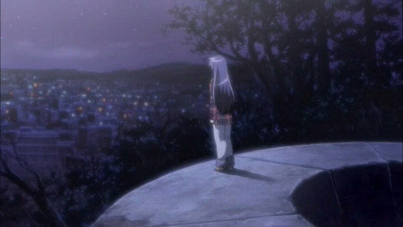 Looking Up At The Half-Moon - Other & Anime Background Wallpapers ...