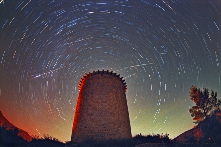 Leonids Above Torre de la Guaita - space, cool, stars, galaxies, fun