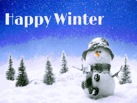 Happy Winter - trees, winter, snowman, snow