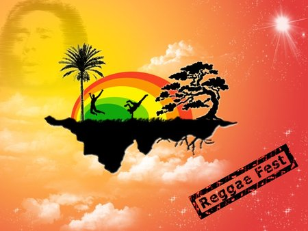 reggae fest - palm tree, clouds, bob marley, island, music, reggae