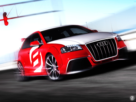 audi - audi, sexy, sher ali, motor, automobile, sports, custom, red, speed, car