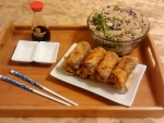 egg rolls and fried rice