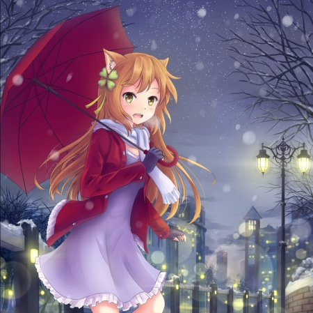 Winter night other anime background wallpapers on - Winter anime girl wallpaper ...