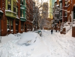 Side Street in Boston after Heavy Snow