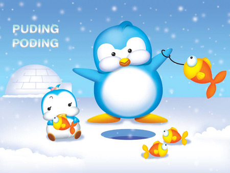 Ice Fishing - ice, igloo, fishing, penguins, snow falling, fish