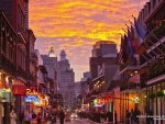 Bourbon Street in New Orleans at Sunset