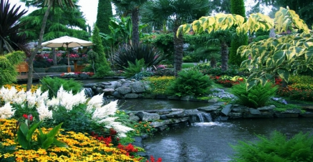 flower garden exotic pond exotic meadows beautiful flowers small waterfalls - Beautiful Flower Gardens Waterfalls