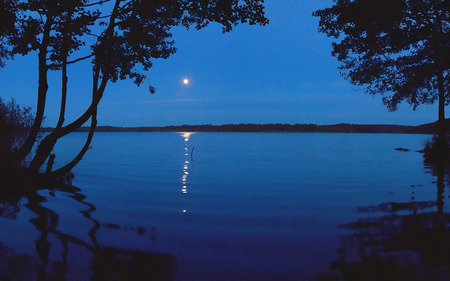 Moonlight Shadow  - lake, berlin, dahme, moon, moonlight, dahme lake area, night, romance