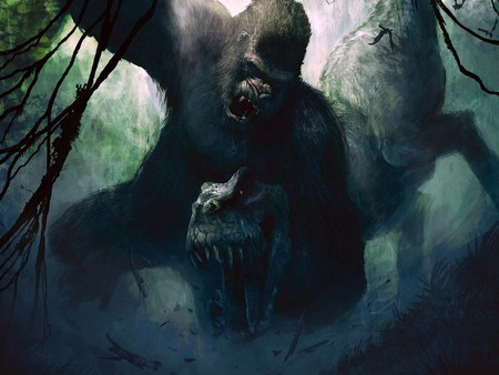 King Kong Versus T-Rex - art, fantasy, artwork, king kong