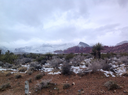 Winter in the high desert - desert, winter, mountains, snow