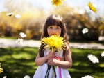 Little Girl with Big Flower