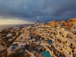 Clouds over Santorini Houses