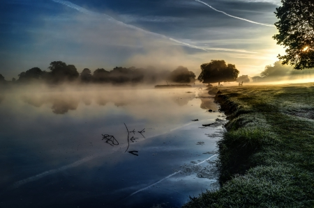 Early Morning - sunrise, lake, clouds, grass, landscape, bench, sky, nature
