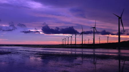 Wind turbines - 1920x1080, background, lovely, purple sky