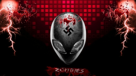alien zombie - aliens, red abstract, nazi, eyes, swastika