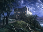 Scharfenberg Castle at Moonlight