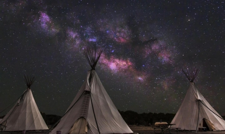 Wigwams and Milky way - wigwams, milky way, sky, night