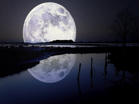 Lunar reflection - moon, reflection, night, water