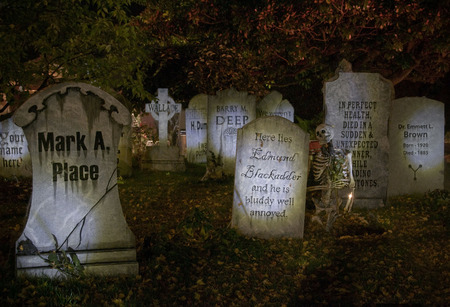 Halloween Graveyard - tombstones, leaves, Fall, trees, skeleton, halloween, candle, graveyard, autumn
