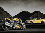 Ducati and a Mercedes in Yellow
